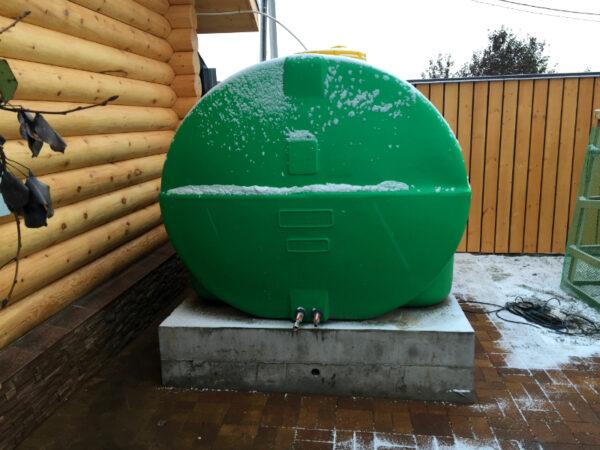 Емкость горизонтальная 5000 литров зеленая